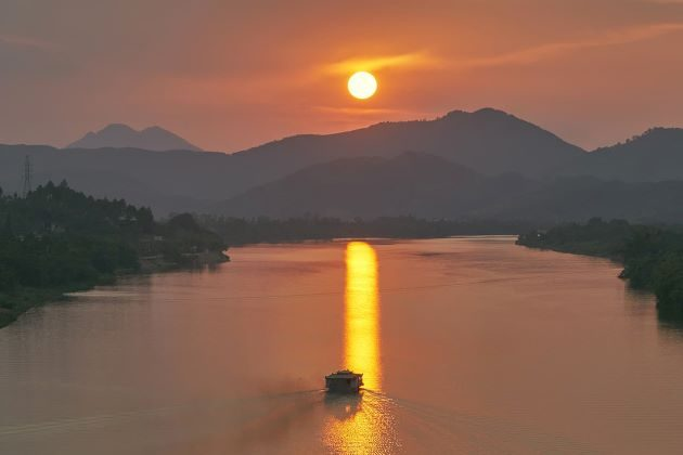 beautiful sunset on perfume river in hue