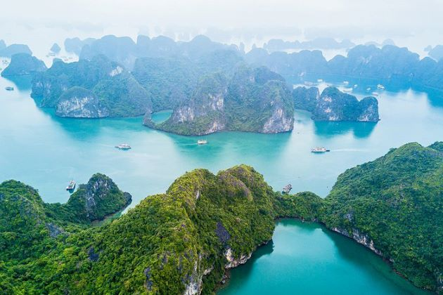 halong bay from bird eye view