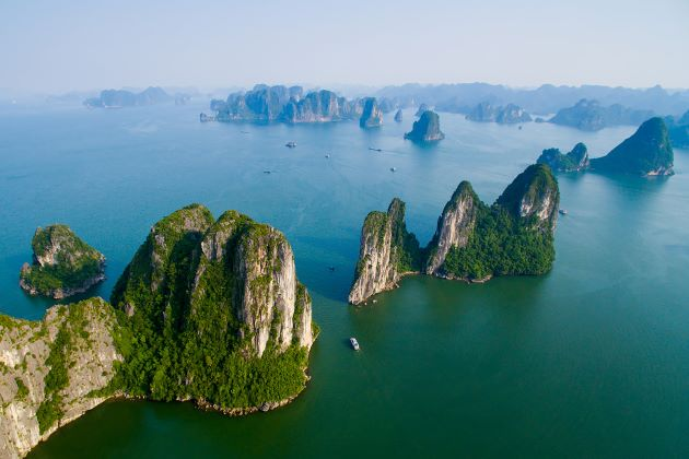 halong bay scenery by seaplane spa and wellness retreat in vietnam