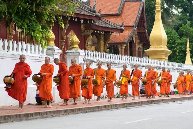 morning alms giving in luang prabang