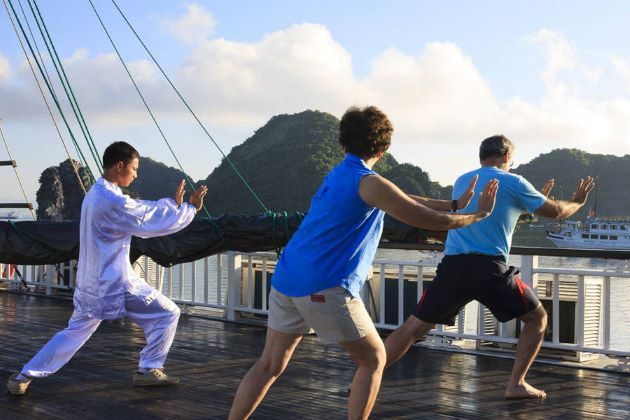 practice tai chi at halong bay