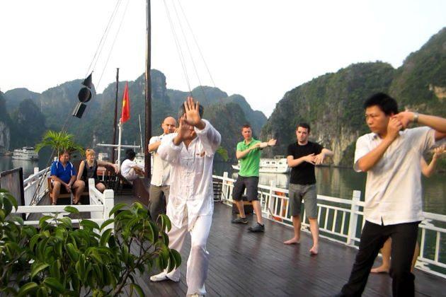 tai chi lesson at halong bay
