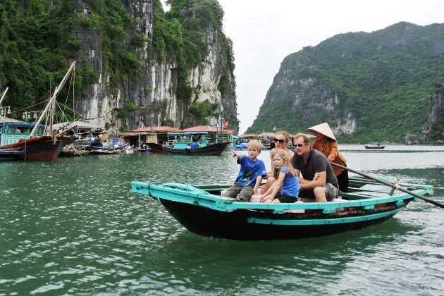 visit a floating village in halong bay family tours